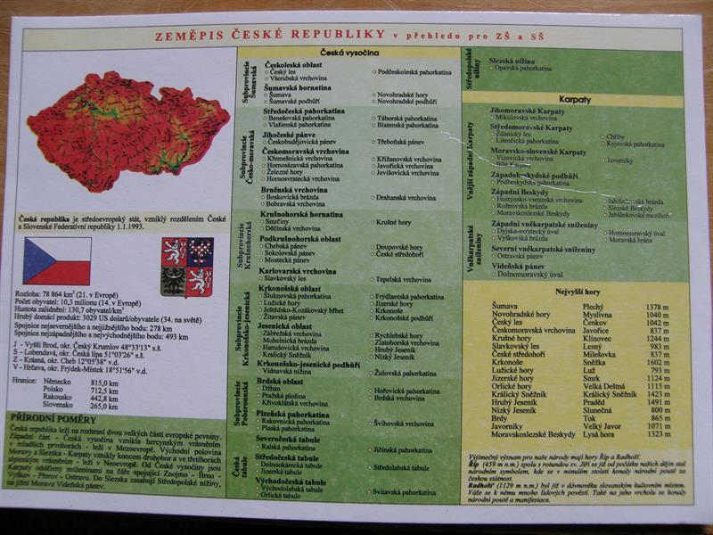Zeměpis ČR - tabulky