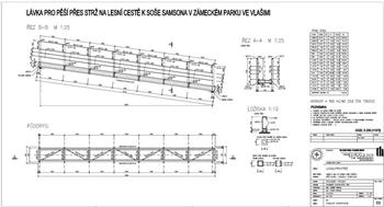 Ocelová konstrukce lávky s výkazem oceli