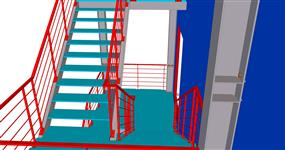 Ocelová konstrukce únikového schodiště