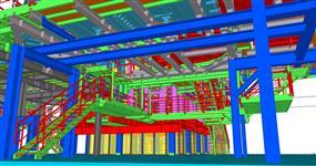 Ocelová konstrukce fixace částí sklářských pecí a konstrukce obsluhy provozu