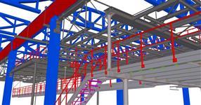 Ocelová konstrukce plošiny výrobní linky - ŠKODA AUTO Mladá Boleslav