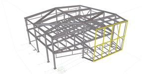 Ocelová konstrukce administrativní přístavby -Story Design Litomyšl