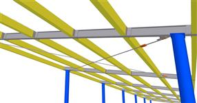 The shed steel structure with timber purlins