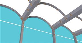 The steel structure of tram station