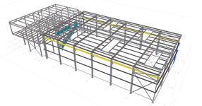 The steel structure of workshop with office building
