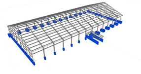 The hall steel construction for cattle