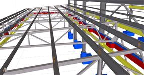 The steel structure of workshop with crane way