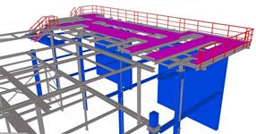 The steel structure of workshop with platform