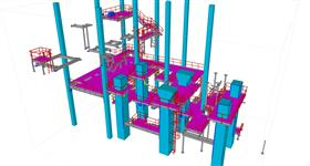 steel structure of platforms in concrete frame building with energy device