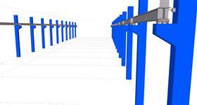 steel construction of the new crane rails on concrete skeleton