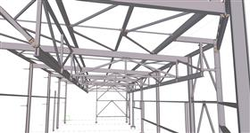 steel construction of building extension for the engineering industry
