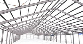 steel construction of agricultural building for cattle