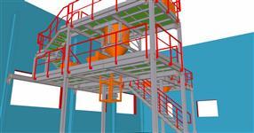 Ocelová konstrukce plošiny pro zpracování, balení a vážení granulových směsí