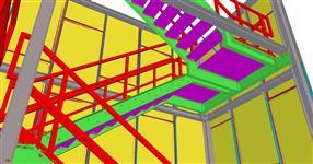 Ocelová konstrukce přístupového schodiště s opláštěním tahokovem