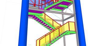 Ocelová konstrukce únikového schodiště NWT Zlín