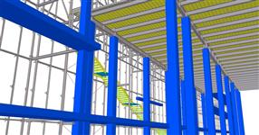 Ocelová konstrukce předsazené skleněné fasády - Budova B - ČVUT Praha