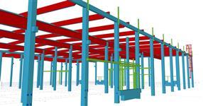 Sekundární ocelové konstrukce ŽB skeletu výrobní haly