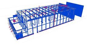 Sekundární ocelové konstrukce ŽB skeletu skladové haly