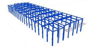 Sekundární ocelové konstrukce ŽB skeletu haly servisního centra
