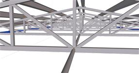 Steel structure of a warehouse roof