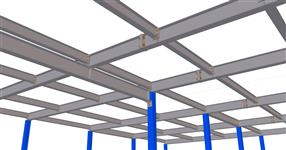 Steel structure of a warehouse mezzanine