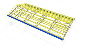 Steel structure of roof trusses with timber purlins