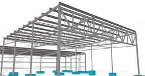 Steel structure of a warehouse with open canopy