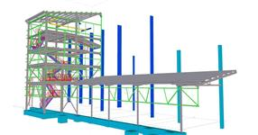 Steel structure of a bulk materials expedition hall