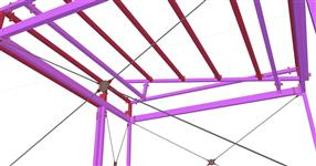 Steel structure of a signature awning