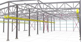 Steel structure of a two-bay production hall with a crane runway