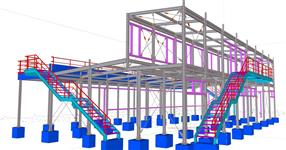 Steel structure of technical rooms, operation areas and rooms for visitors of a go-kart track