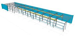 Steel structure of a production hall extension with crane runway