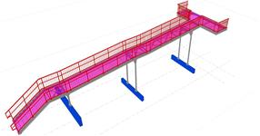 Steel structure of an exit ramp