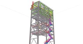 Steel structure of a hopper tower