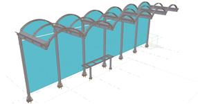 Steel structure of a tram station canopy