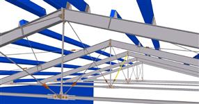 Steel structure of a roof for cattle housing