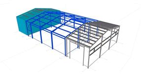 Steel structure of a car repair workshop