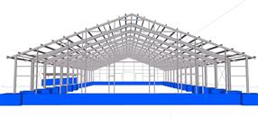 Steel structure of a hall for cattle housing