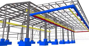 Steel structure of a production hall with crane runway