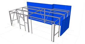 Steel structure of a hall extension