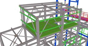Steel structure extension of a building for bulk raw materials production