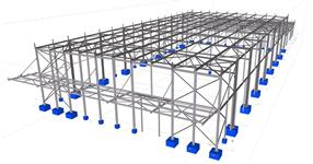 Steel structure of a warehouse hall