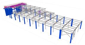 Steel structure of a production hall with platform