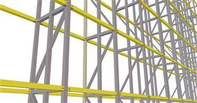"""Ocelová konstrukce """"zelené"""" stěny mezi obytnými budovami"""