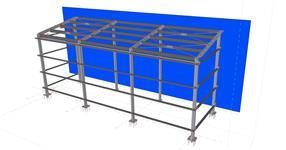Ocelová konstrukce přístřešku skladu