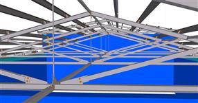 Ocelová konstrukce zastřešení částí budovy dojírny