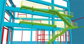 Pomocné ocelové konstrukce pro opláštění, schodiště, plošiny a vestavby do železobetonového skeletu výrobní haly