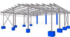 Ocelová konstrukce zakrytí skladové plochy