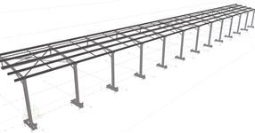 Ocelová konstrukce přístřešku zemědělského objektu