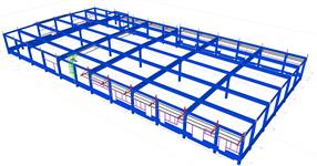 Pomocné ocelové konstrukce pro řelezobetonový skelet výrobní haly